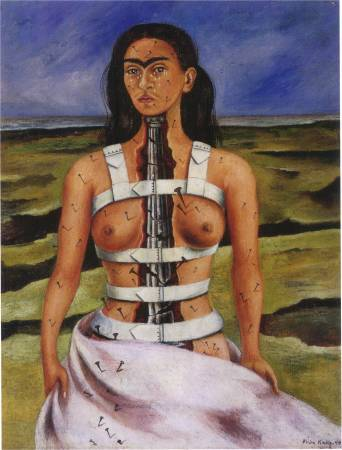 Frida Kahlo,《The Broken Column》,1939。圖/取自 wikiart。