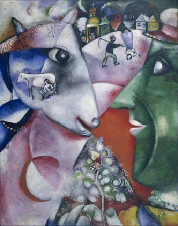 Marc Chagall,《I and the Village》,1911。圖/取自 wikiart。