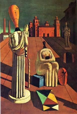 Chirico,《The Disquieting Muses》(不安的繆斯),1918。
