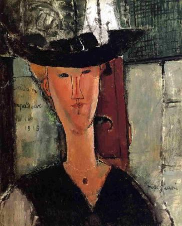 Amedeo Modigliani,《 madame pompadour》(龐畢度夫人),1915。