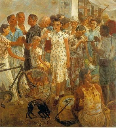 李石樵,《市場口》,1945。
