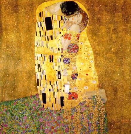 Gustav Klimt,《the kiss》(吻),1907-1908。圖/取自Wikiart。