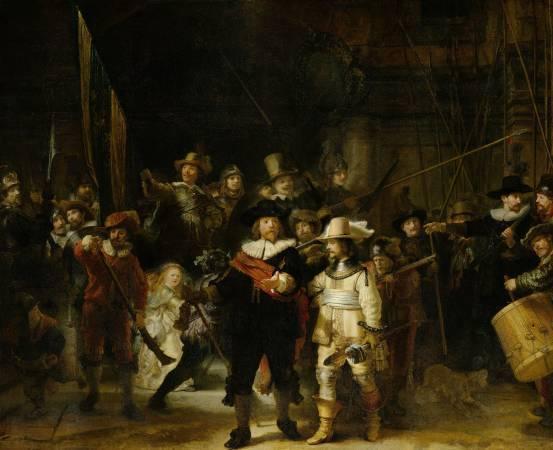 林布蘭《夜巡》。圖/取自Wikipedia。