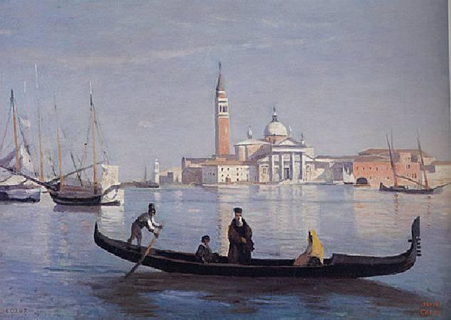 柯洛,《威尼斯大運河上的貢多拉》,1834。