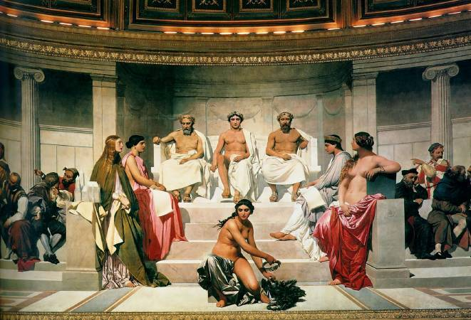 Paul Delaroche,《Hémicycle》 (Central Section),1842。圖/取自wikiart。