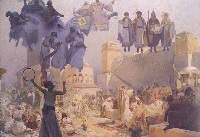 慕夏,《引介斯拉夫語的禮拜儀式》,1912。圖/取自Wikimedia。
