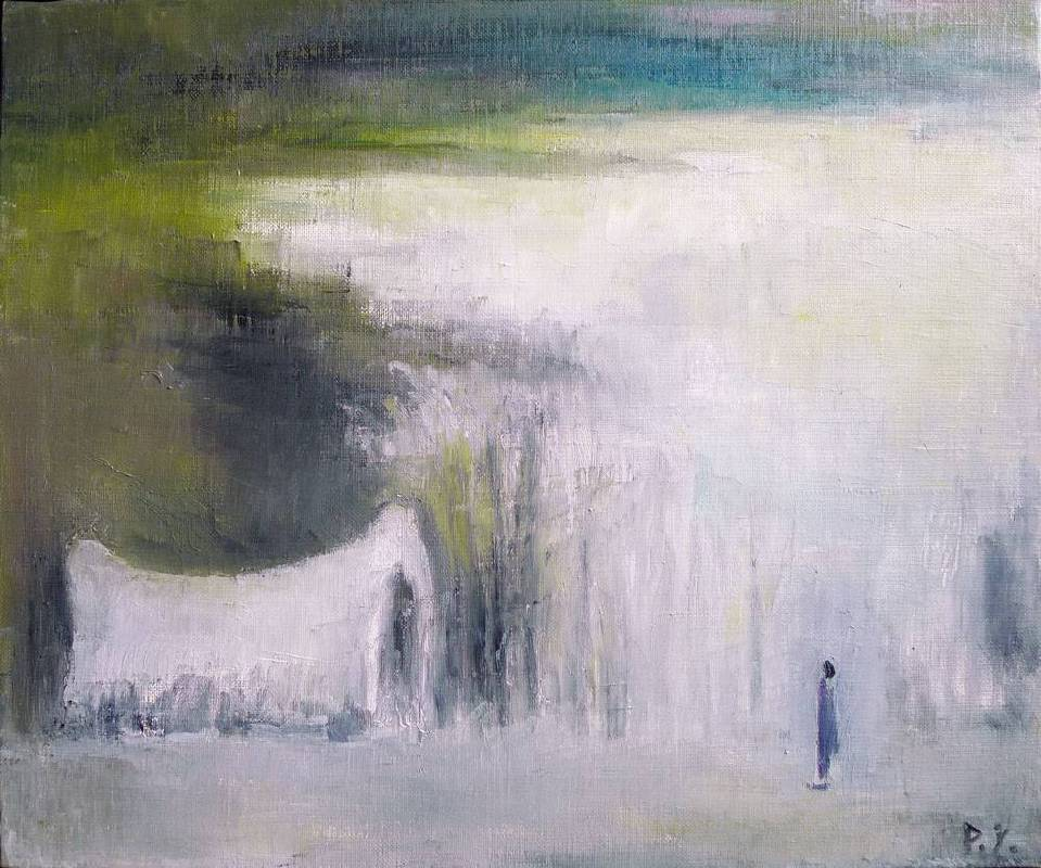 王攀元 Wang Pan Youn 蘇北雪景 Snow In North Suzhou 38x45.5cm 1995 油畫 Oil on Canva