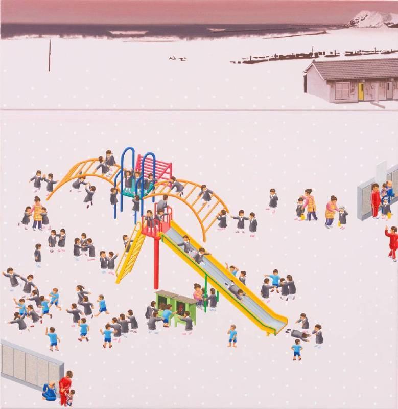 西澤千晴 Chiharu Nishizawa 生活的兩面-b  Both sides of life-b 73x72.7cm 2010 壓克力彩 畫布Acrylic on Canvas