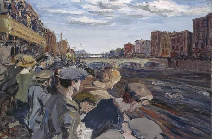 傑克‧葉慈,《利非河游泳比賽》,1923。圖/取自Ortioricellari