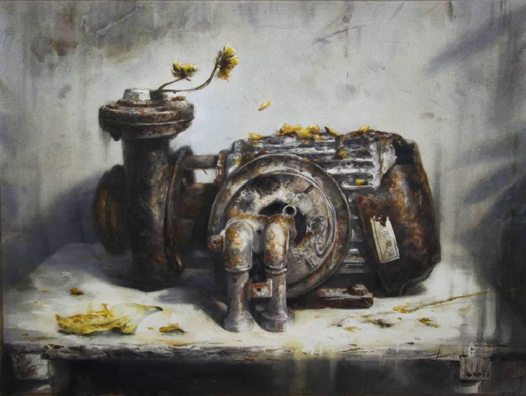林維新-鎘黃色的雪- 水彩-54x76cm-2015