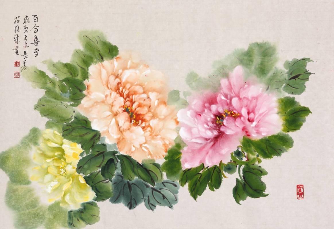 莊桂珠 《牡丹花》 2015  40×62公分  窯變釉