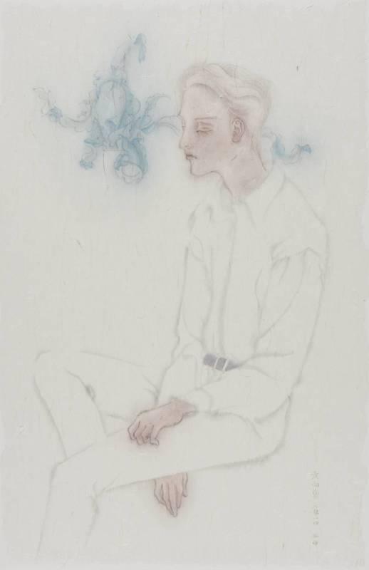 藍焰   Blue Flame 2014 設色紙本 Ink on Paper 35 x 62 cm