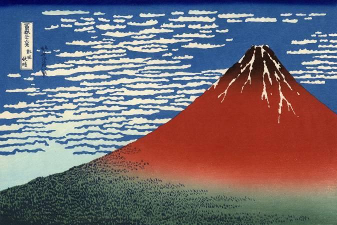葛飾北齋,《富嶽三十六景:凱風快晴》,1831-1833。圖/取自wikipedia