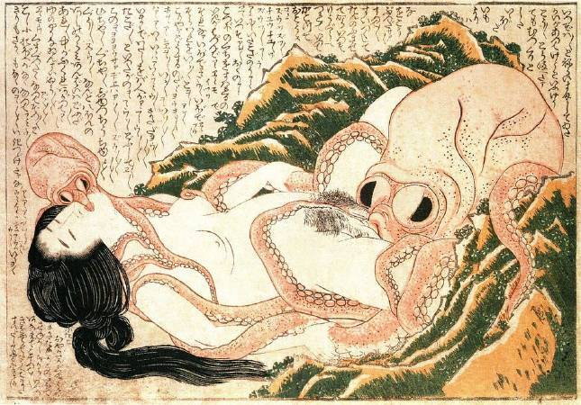 葛飾北齋,《章魚與海女》,1820。圖/取自wikipedia