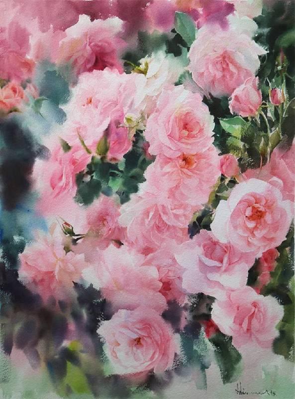 泰國 Adisorn Pornsirikarn 英國玫瑰  English-Roses  2015  55x75cm