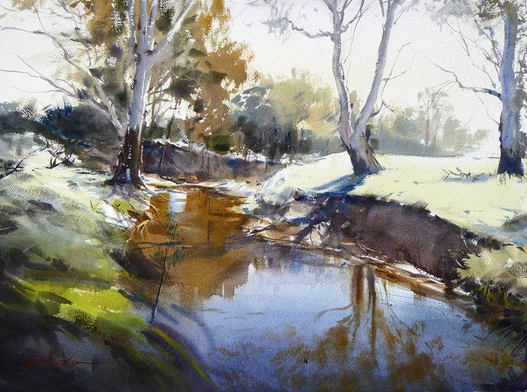 澳洲  David Taylor  砰砰河晨霜 Morning Frost Bang Bang Creek  2015  74cm x 55cm