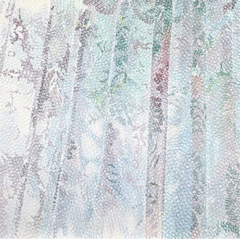 鄭君殿,2012-2015,《窗簾 III》,油彩/畫布,200 x 200 cm