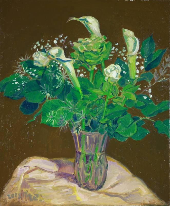 黃朝謨,《海芋與玫瑰》,2002。