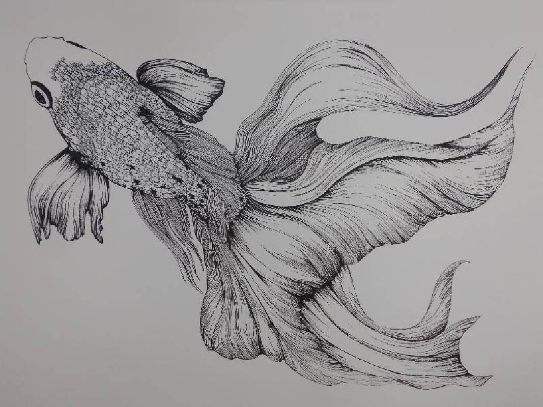 徐葦 <魚-雀躍>,絹印,39.3x54.6cm 2012 Ed.5
