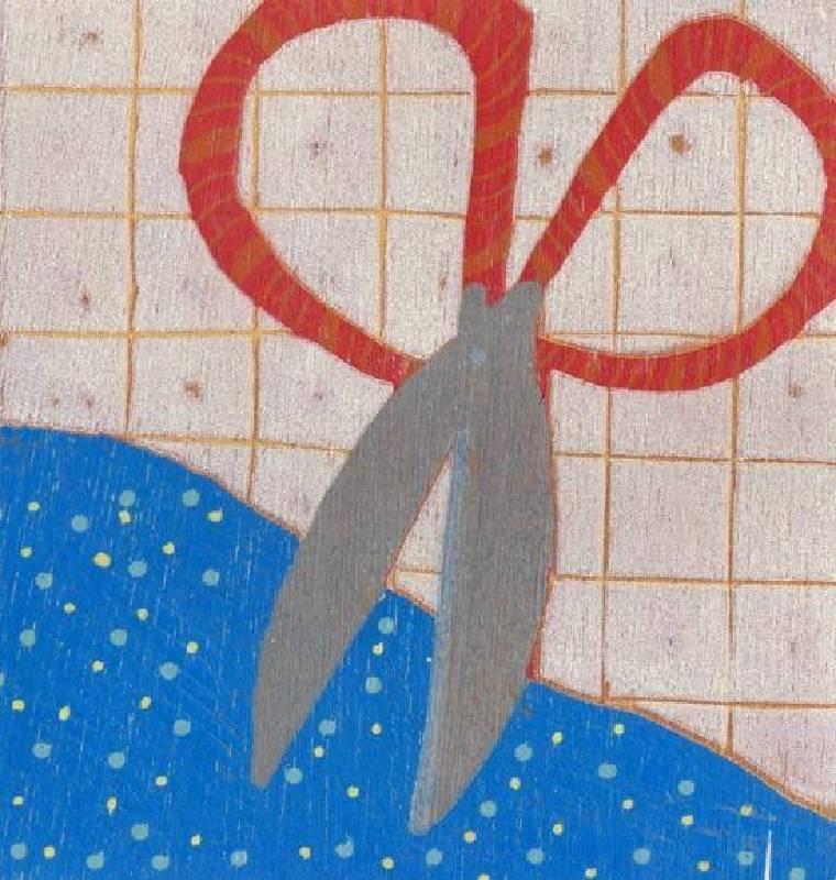 饒祗豪 <Red Scissors‧紅剪刀>,Woodcut‧單版複刻 30 ×26.5cm 2010 Ed.10