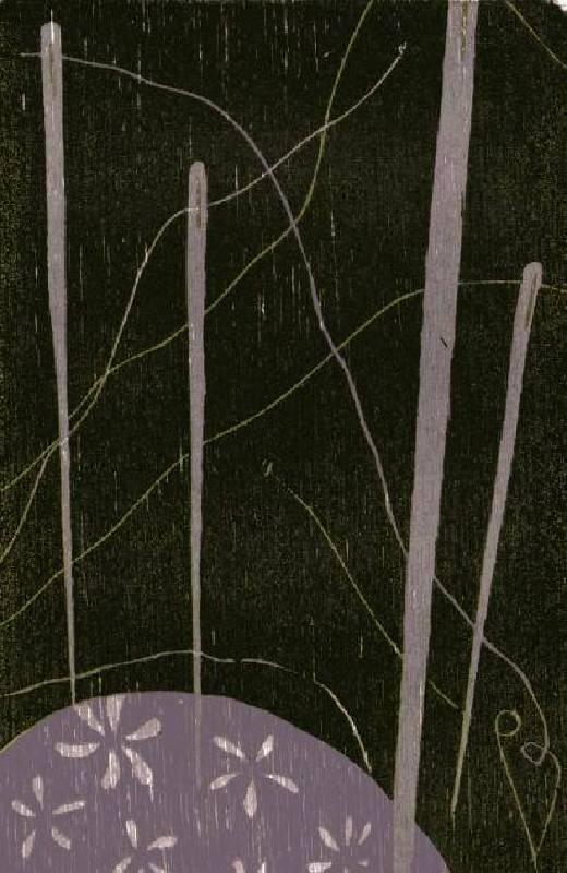 饒祗豪 <Our Needles Ball‧您的針線包>,Woodcut‧單版複刻 35 ×26.5cm 2010 Ed.10