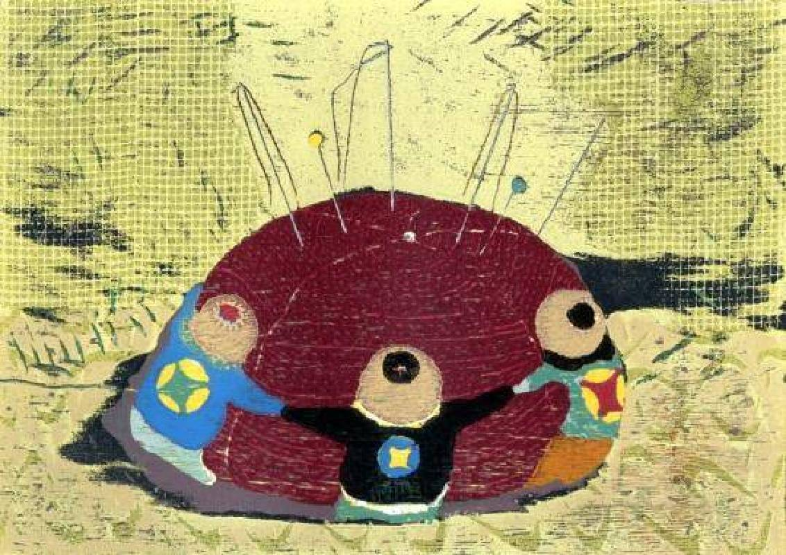 饒祗豪 <Memorizes the Needles Ball‧回憶針線包>,Woodcut‧單版複刻 26.5 ×38cm 2011 Ed.8