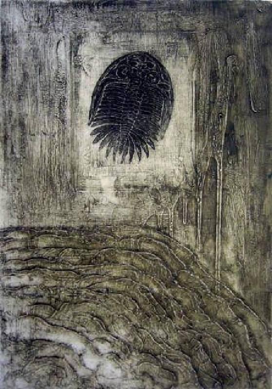 葉家豪 <蟄伏Ⅱ>,2007,綜合併用版、油墨、紙,76 × 53cm collagraph