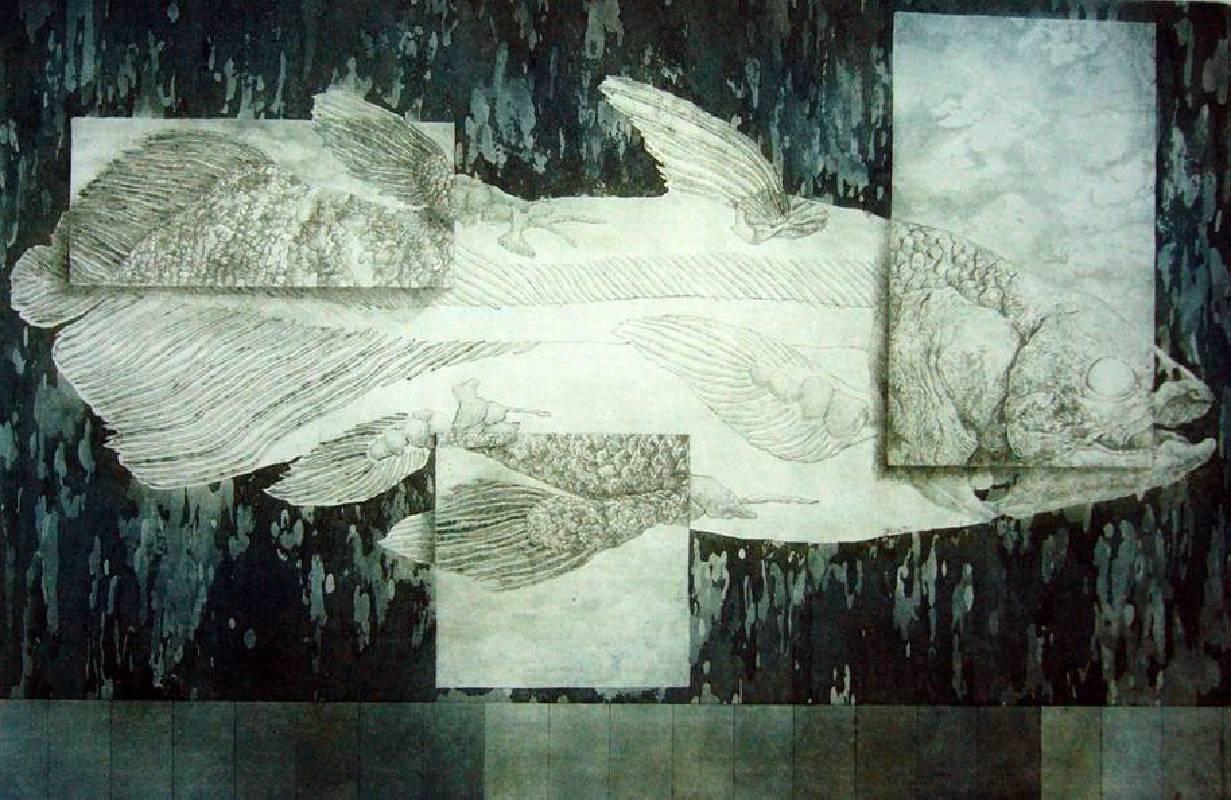 葉家豪 <記憶的片段Ⅱ>,2005,腐蝕凹版、油墨、紙,40×60cm etching