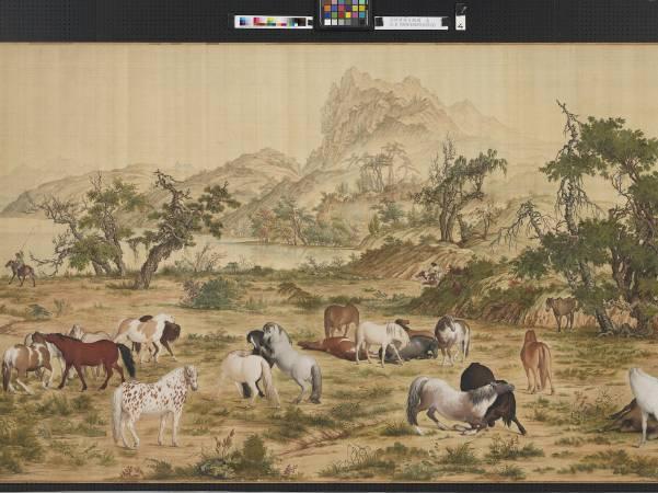 郎世寧,《百駿圖》。圖/國立故宮博物院提供。