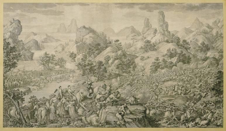 郎世寧,《平定準噶爾回部得勝圖第七幅 黑水圍解》。圖/國立故宮博物院提供。