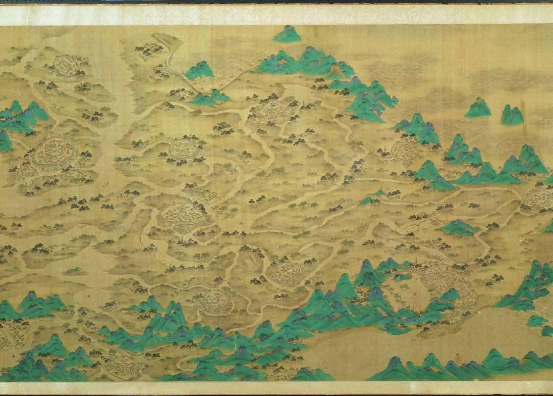 京杭運河圖卷 清彩繪本