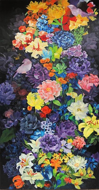 白丰中  《輕撲千花百卉心》 2014  51×36公分  油畫