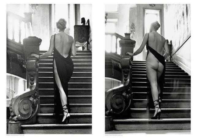 模特兒穿高衩禮服。圖/取自Fotoanestesia。