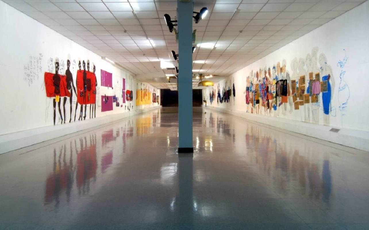 朱銘美術館中央長廊。圖/朱銘美術館提供。