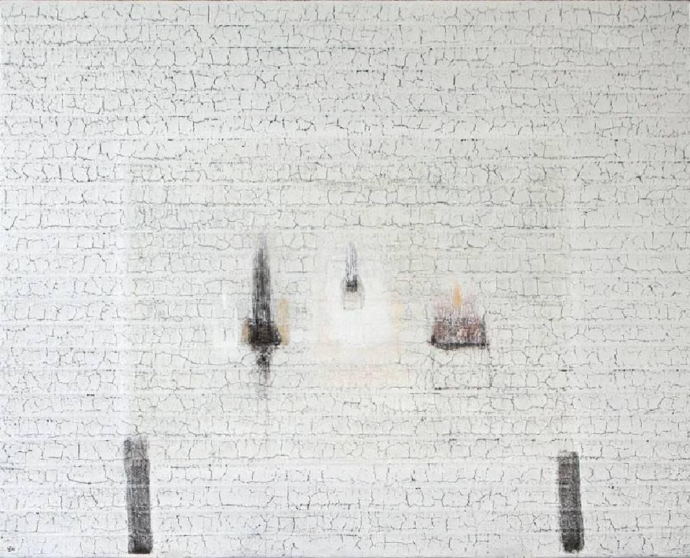 劉安民,《僧侶的桌子》,2015,121.92x152.4cm,壓克力顏料,超厚凝膠,馬尼拉麻,畫布