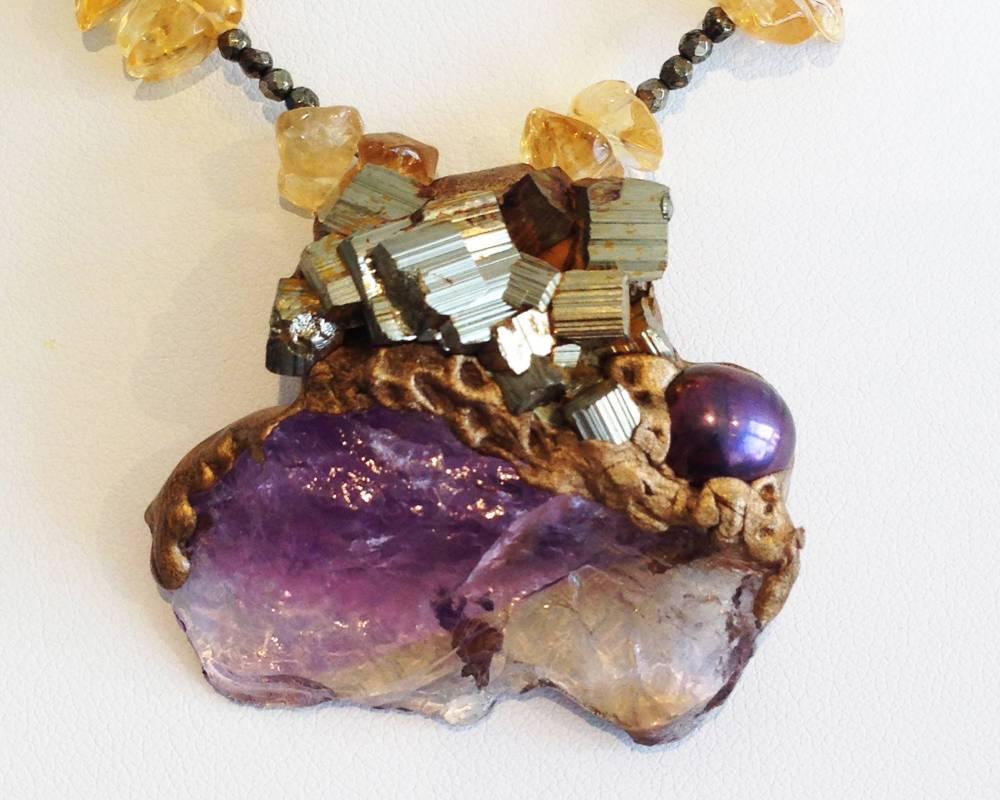 莫塞爾作品《波希米亞彩霞》紫黃晶與黃鐵礦項鍊