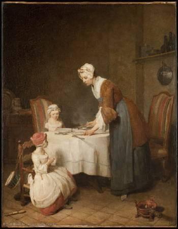 夏丹《餐前禱告》,1740。圖/取自Wikiart。