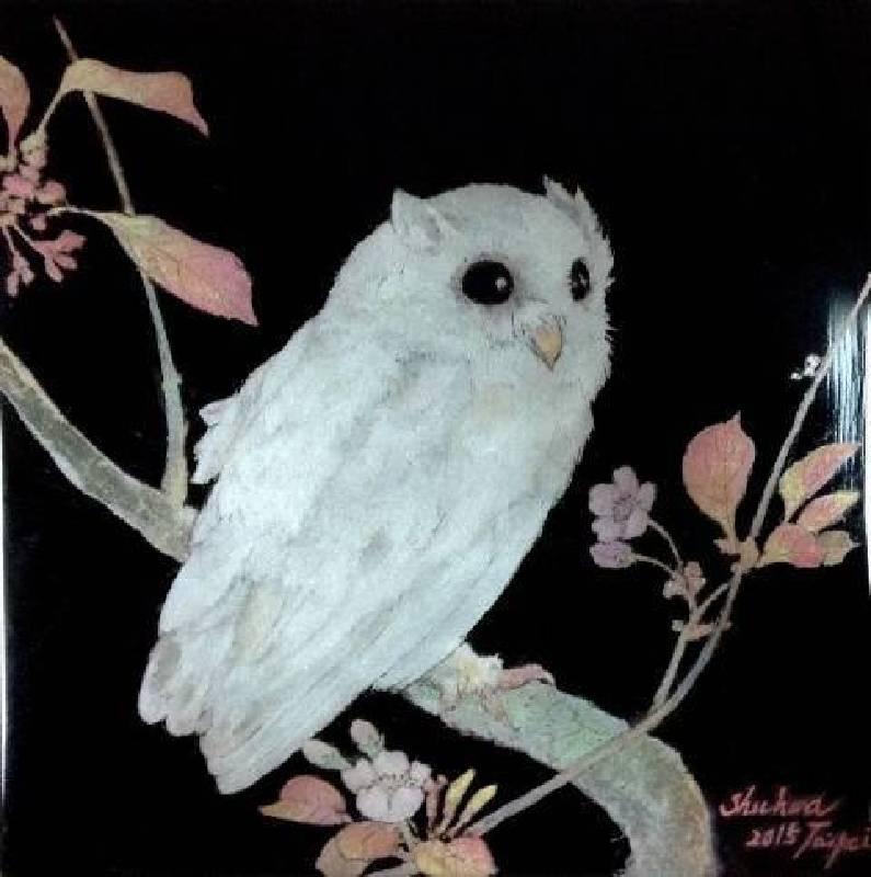 理想國之純淨智者 21x21cm 金銀色粉、天然漆、木料