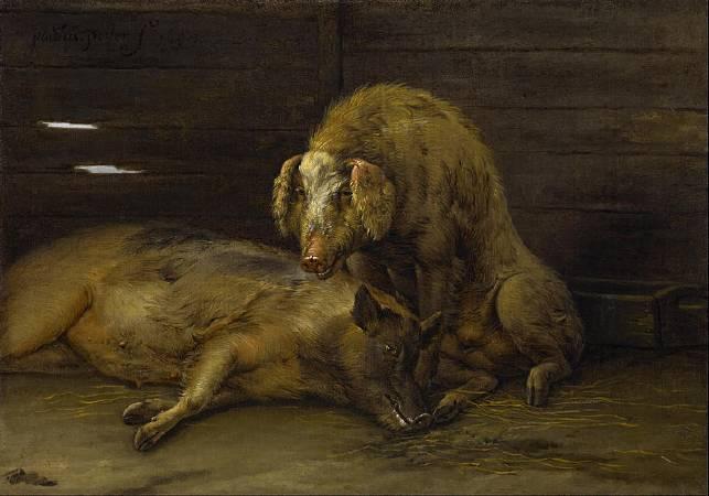 包路斯•波特《Two Pigs in a Sty 》。圖/取自Wikipedia。