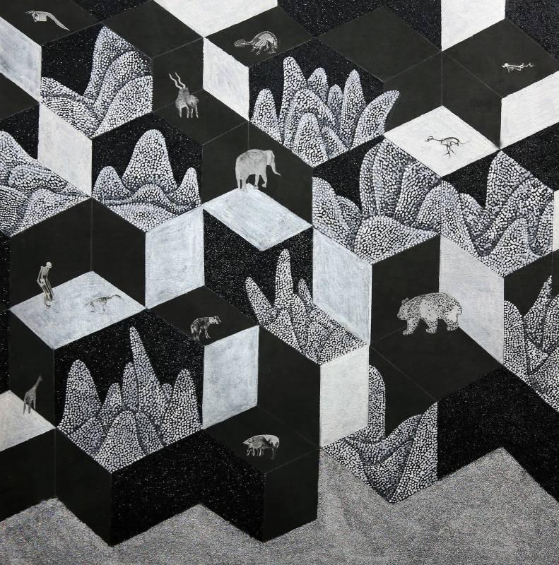 彼岸之間 4,  複合媒材, 50x50cm, 2015