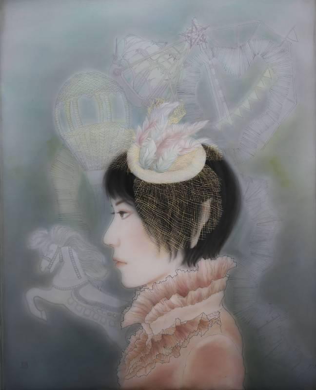 許璧翎 精靈系列之幻樂園-膠彩絹本 50 F 126x86cm (裝框143x100x5cm) 2012