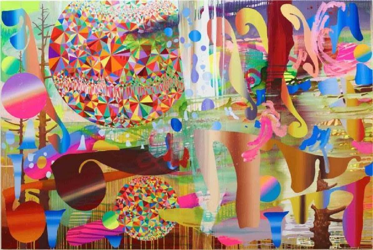 大野智史 Satoshi Ohno, 迷失在朦朧森林 Lost in Misty Forest 2015, oil, acrylic, spray on canvas mounted on panel, 162 x 243.5 cm