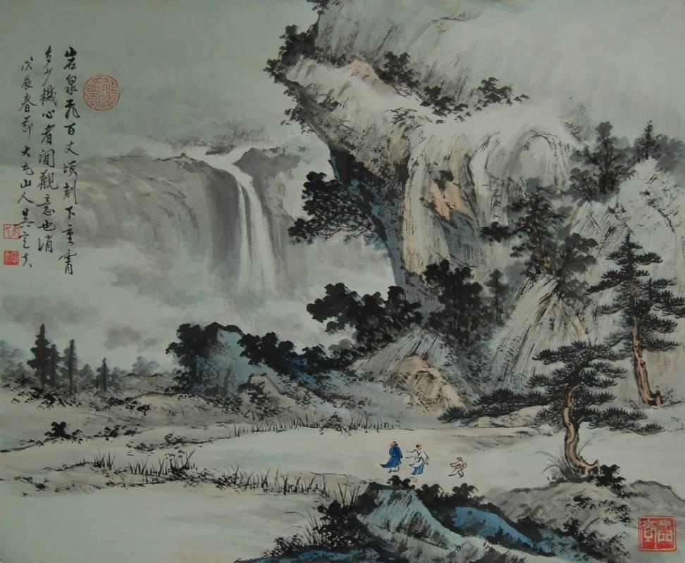岩泉飛百丈- 彩墨