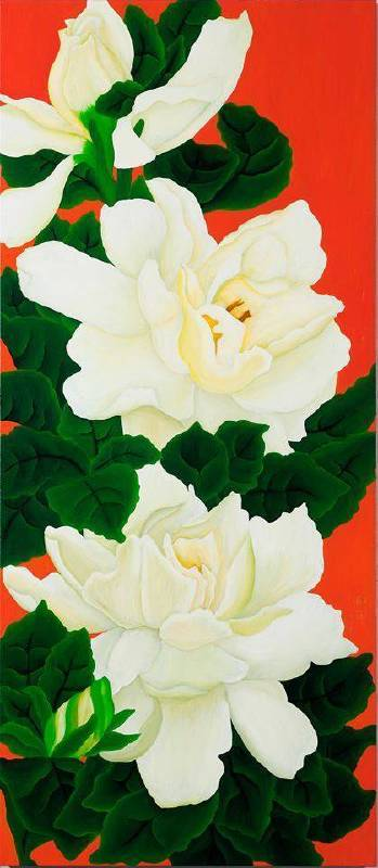 梔子花的記憶 The Blossom of Hope, The Memory of Cape Jasmine,   油畫,   160x70cm,  2015