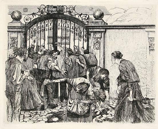 Käthe Kollwitz,《Riot》, 1897。圖/取自 wikiart。