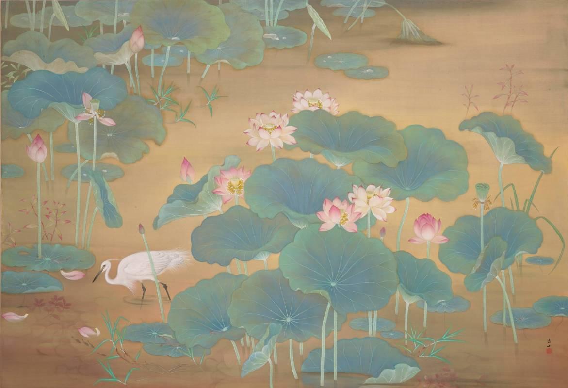 林玉山〈蓮池〉, 1930, 膠彩, 146.4 x 215.2cm,國美館典藏