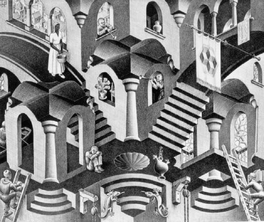 Maurits Cornelis Escher,《Convex and Concave》,1955。圖/取自wikiart