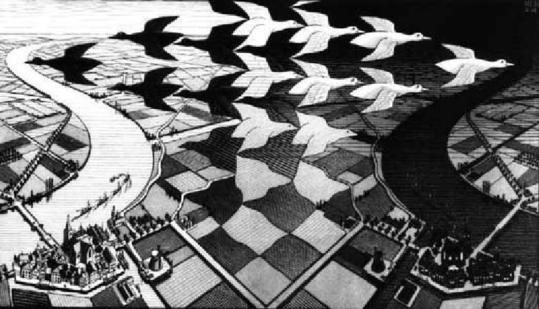 Maurits Cornelis Escher,《Day and Night》,1938。圖/取自wikiart