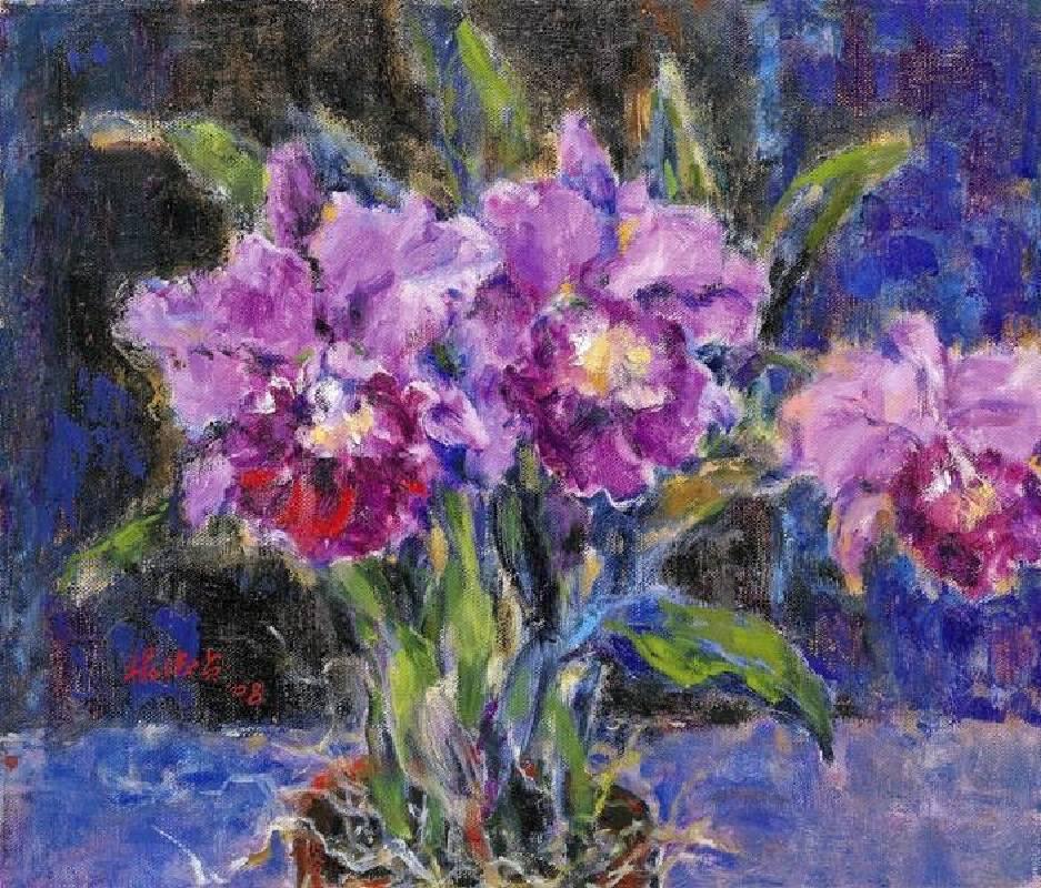 楊淑貞  紫洋蘭  10F  油彩  2008