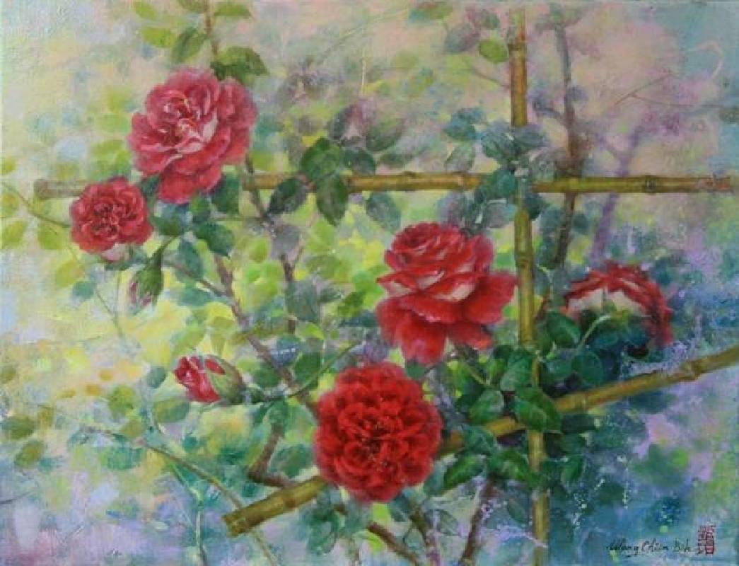 王健碧  籬笆上的紅玫瑰  50x65cm  15P  油彩  2015